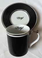 Hollóház Exclusive Davidoff café mokkás csésze és alj jelzett hibátlan