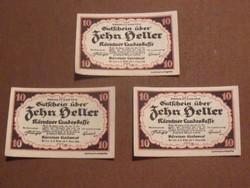3 db nyomdatiszta 10 Heller 1920