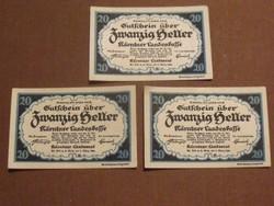 3 db nyomdatiszta 20 Heller 1920