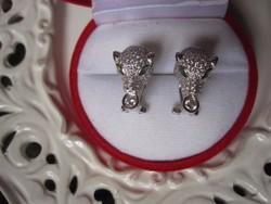 Exkluzív! Cartier leopárdot idéző fehéraranyozott ezüst fülbevaló