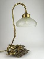 0N791 Faunfejes réz íróasztali lámpa kalamárissal