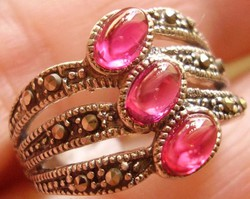 925 ezüst gyűrű 16,1/50,6 mm, Art Deco rubellit+markazit