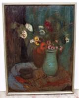 Tallós Ilona (1918-1991) Virág csendélet Képcsarnokos olajfestménye 85x65cm EREDETI