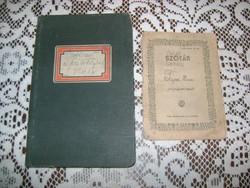 Két darab régi füzet - Határidő napló 1943 és iskolai szótár 1950