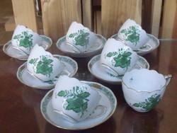 Herendi zöld Apponyi kávés 6+1 ( MALÉV-os )