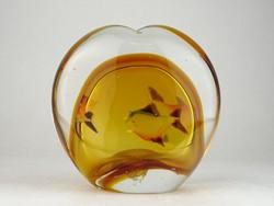 0N809 Hatalmas üveg levélnehezék halakkal 2 kg