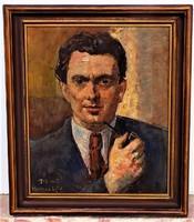 Herman Lipót (1884-1972) Önarckép olajfestménye. Eredeti garanciával