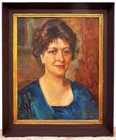 Herman Lipót (1884-1972) Hölgy képmása olajfestménye. Eredeti garanciával