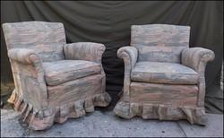 Régi ívelt fotel pár / új kárpittal