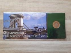 UNC 200 Forint bankjegy és érme díszcsomagolásban