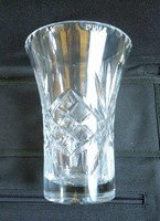 Régi vastag kézzel csiszolt kristály váza