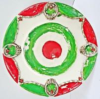 Piros fehér zöld nemzeti színű fajansz szecessziós kosárkás dísztál