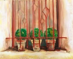 Ablak-eredeti olaj, vászon festmény,Rendkívüli akció,közvetlen az alkotótól!