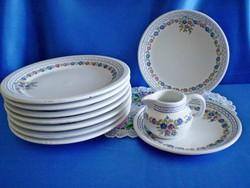 7 db Városlődi kézzel festett kerámia / majolika 26 cm-es lapos tányér +AJÁNDÉK
