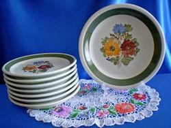 Városlődi kézzel festett kerámia,majolika tányér, süteményes készlet 1+7 db