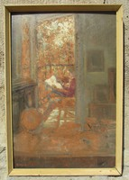 Reinecker János: Délutáni szieszta (1985, 60 x 40, o.f.)
