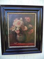 Szép régi pünkösdi rózsás csendélet széles keretben D. Benczur