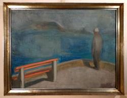 """Szilvásy Pál  ( 1920- 1996 )  """" Balatoni merengő """""""