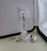 Ezüst fülbevaló csepp alakú cirkónia kővel -  új ékszer