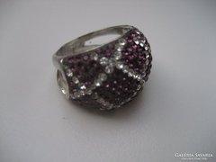 Sterling ezüst lila-fehér cirkonos sokköves, csodaszép gyűrű