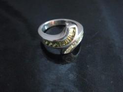 Ezüst gyűrű zöld és fehér cirkóniával