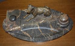 Antik Kalamáris - Íróasztali nagy tintatartó - márvány + öntött bronz figurával