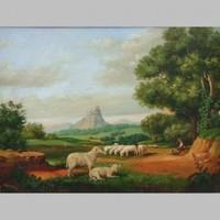 19.sz.i osztrák festő: Tájkép juhokkal