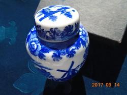 Kobaltkék  mintás porcelán fedeles teafű tartó-10 cm