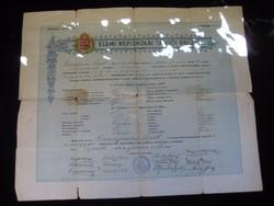 Győri Elemi Népiskolai  Tanítói  Oklevél  1912  .