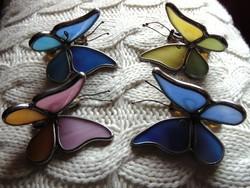 Tiffany ólomüveg karácsonyfa díszek 4 db pillangó