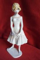 Ritka Unterweissbach tervező által szignózott Retro Lány porcelán figura