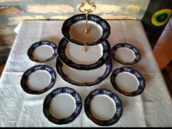 Zsolnay pompadour II emeletes süteményes készlet