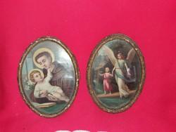 Antik fali színes szentkép pár nyomat biedermeyer keretben 22 X 16 X 3 cm /darab egyben