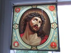 SZECESSZIÓS ÓLOM KERETEZETT ÜVEG KÉP JÉZUS KRISZTUS RENDKÍVÜLI A PÁRJA SZŰZ MÁRIA MÁSIK AJÁNLATOM