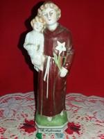 Régi német Bertram porcelán figura  imádkozó Szent Antal kis Jézussal 21 x  8 cm