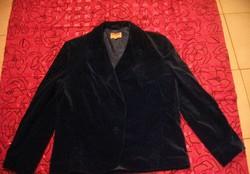 Gyönyörű vintage királykék francia bársony karcsúsított kosztűm kabát