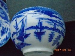 Tojáshéj japán porcelán teás csésze alátéttel kobaltkék mintával