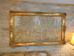 Gépi gobelin kép, aranyozott Blondel keret extra nagy méret: 1,5 x 0,87m