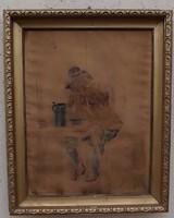 Antik kopott festmény, képkeretnek való