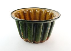 0O079 Antik zöld cserép kuglófsütő forma