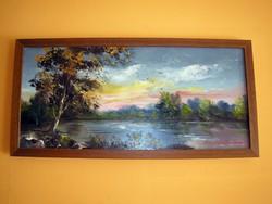 Tiszapart-magyar festő műve,55x27 cm.-es méretű fakeretben