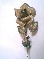 Antik regi ezust filigran rozsa bross kituzo 12.5gm