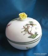 Nagy rózsás herendi porcelán Rothschild bonbonier/doboz