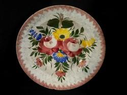 R192 Antik Hollóházi virágmintás falitányér