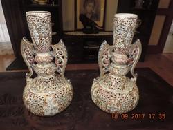 Áttört váza pár - Fischer Ignácz munkája
