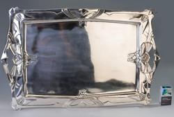 Ezüst bécsi geometrikus szecessziós tálca