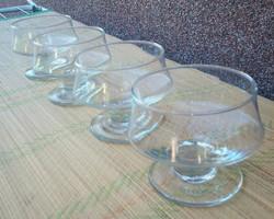 4 db Talpas üveg pohár, kehely,  kínáló tálka