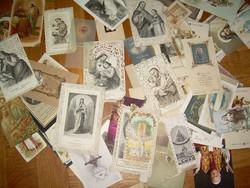 Nagy antik szentkép gyűjtemény csipkés, litho, stb.