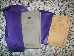Régi Népiskolai értesítő könyv - 1934, 1949 - két darab