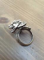Régi ezüst sárkány gyűrű mozgó fejjel